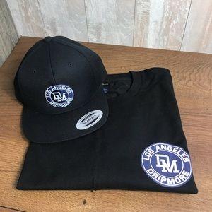 """Men's Set: Printed T-Shirt+Cap """"Drip More""""' Black"""